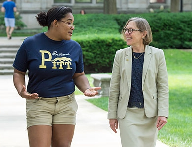 Students talking to the provost