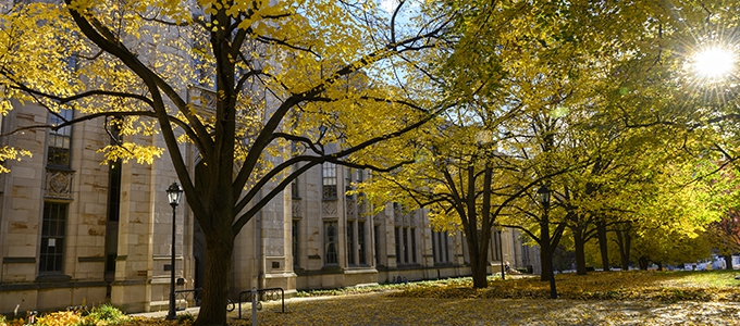 Cathedral of Learning exterior walkways in fall