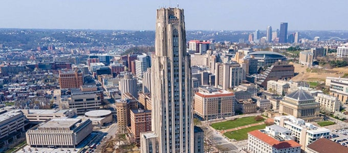 View of Pitt campus via drone