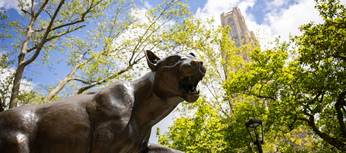 Panther Statue with Cathedral of Learning in background