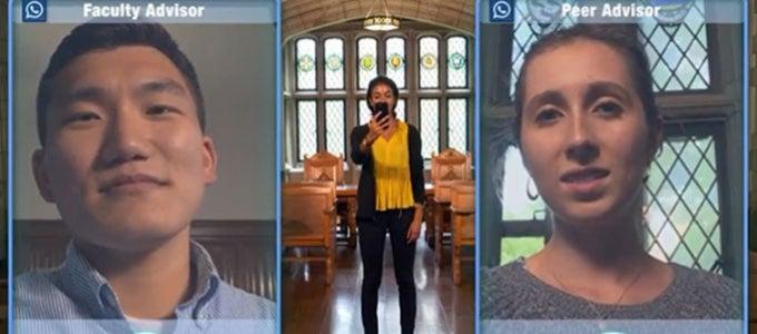 Screenshots of advisors video chatting through mobile