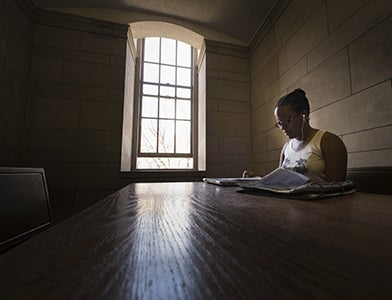 student studying alone