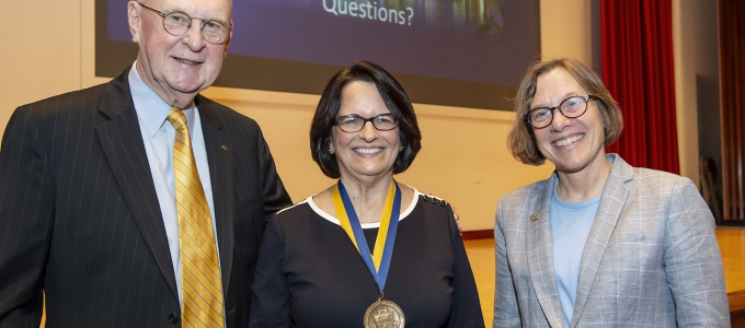 provost cudd with lecturer