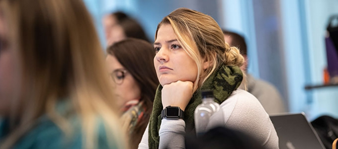 girl listening in class