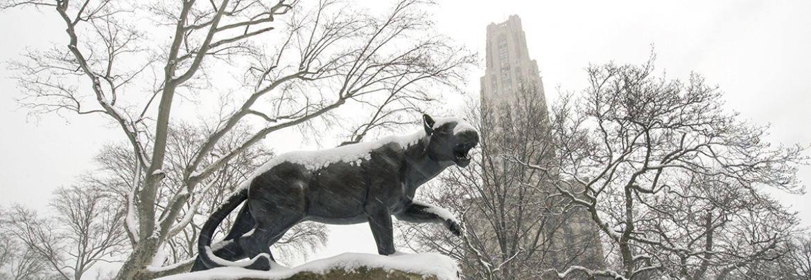 Panther statue covered in snow in front of cathedral of learning