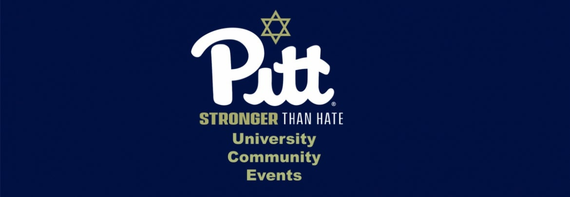 Pitt script logo with Stronger Than Hate tagline